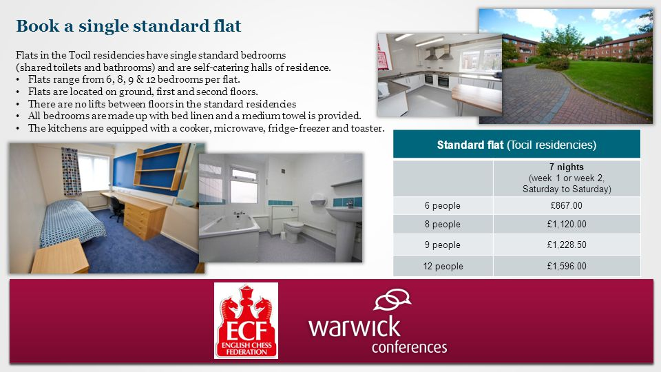 Book a single standard flat Flats in the Tocil residencies have single standard bedrooms (shared toilets and bathrooms) and are self-catering halls of residence.