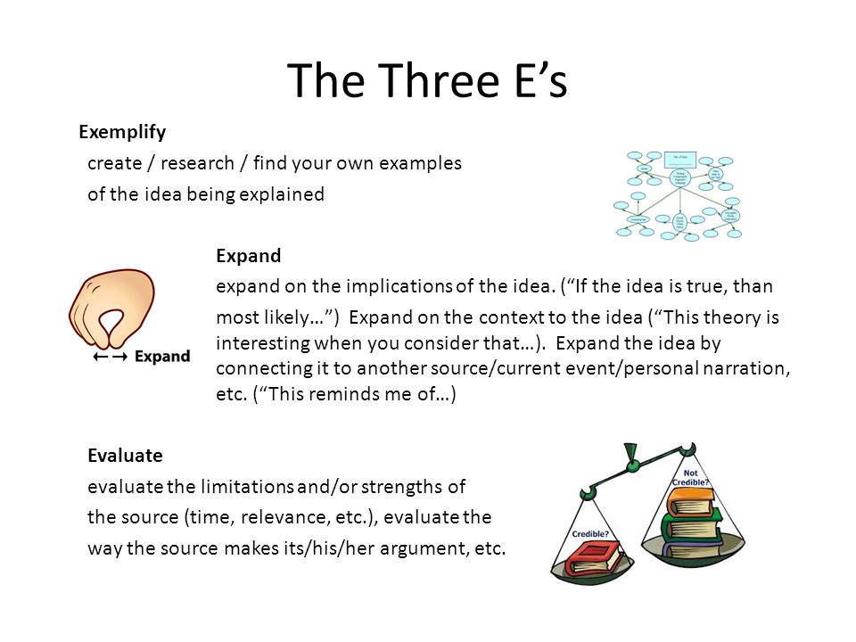 The Three E's Exemplify create / research / find your own examples of the idea being explained Expand expand on the implications of the idea.