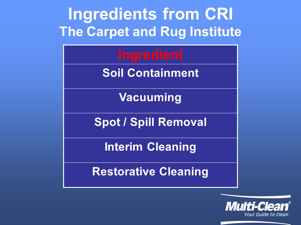 Getting the Recipe Right Soil Containment Interim Maintenance Spotting Restorative Cleaning Vacuuming