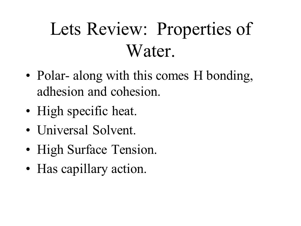 Lets Review: Properties of Water. Polar- along with this comes H bonding, adhesion and cohesion.