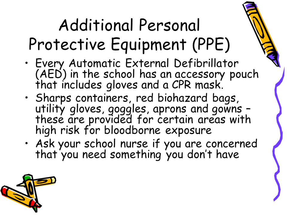 Additional Personal Protective Equipment (PPE) Every Automatic External Defibrillator (AED) in the school has an accessory pouch that includes gloves and a CPR mask.