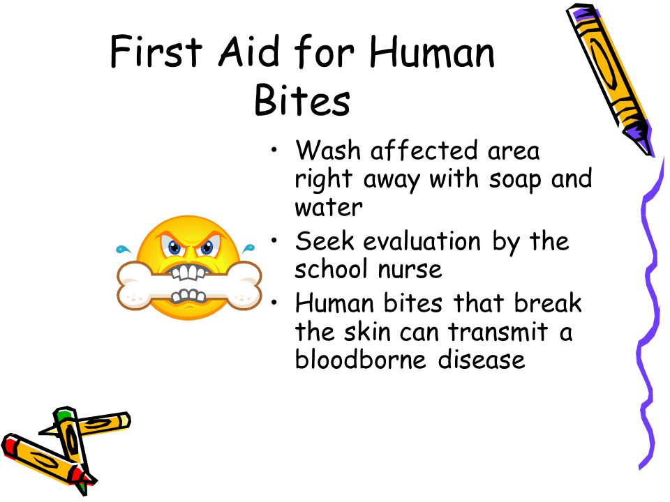 First Aid for Human Bites Wash affected area right away with soap and water Seek evaluation by the school nurse Human bites that break the skin can transmit a bloodborne disease