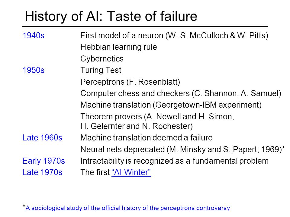 History of AI: Taste of failure 1940s First model of a neuron (W.