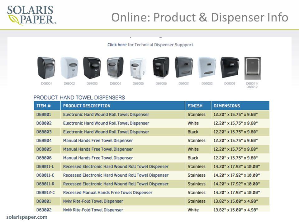 Online: Product & Dispenser Info
