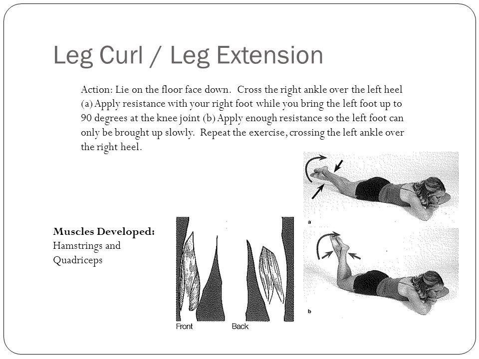 Leg Curl / Leg Extension Action: Lie on the floor face down. Cross the right ankle over the left heel (a) Apply resistance with your right foot while