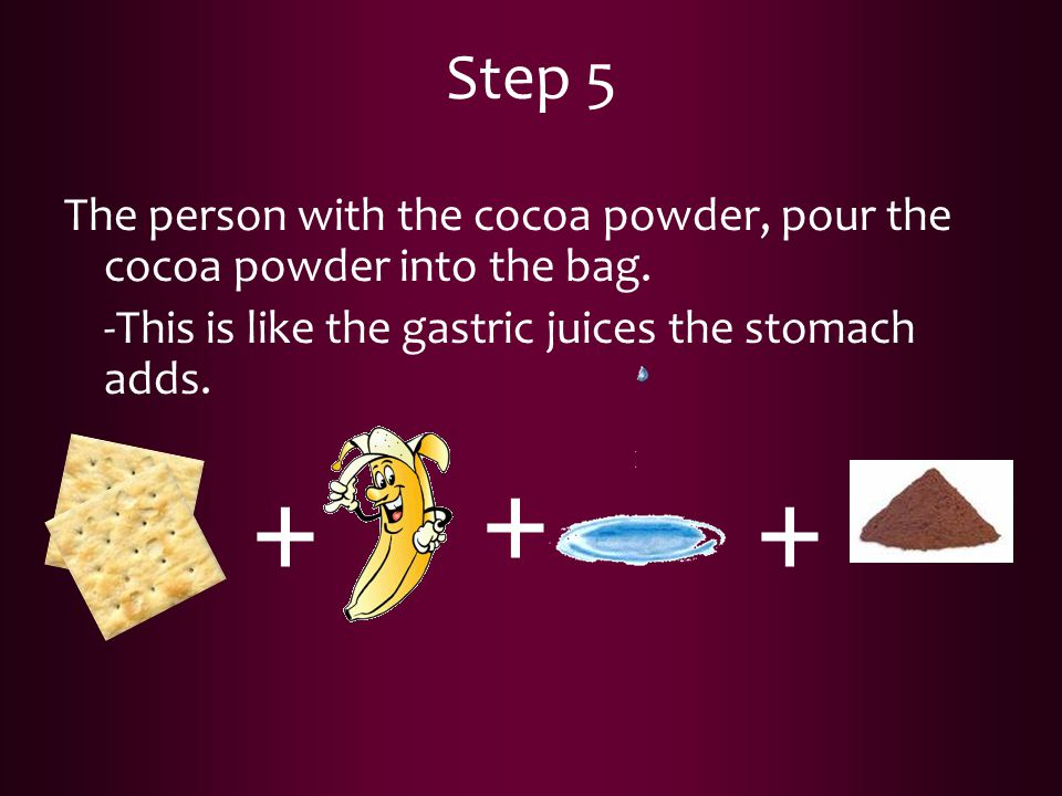 Step 5 The person with the cocoa powder, pour the cocoa powder into the bag. -This is like the gastric juices the stomach adds. + + +