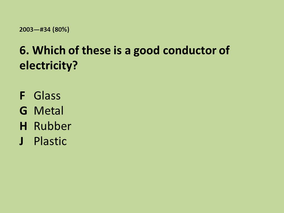 2003—#34 (80%) 6. Which of these is a good conductor of electricity? F Glass G Metal H Rubber J Plastic