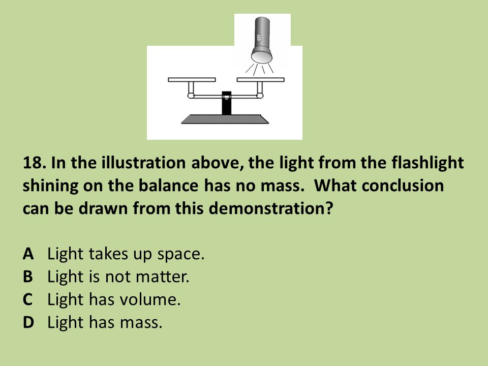 18. In the illustration above, the light from the flashlight shining on the balance has no mass. What conclusion can be drawn from this demonstration?
