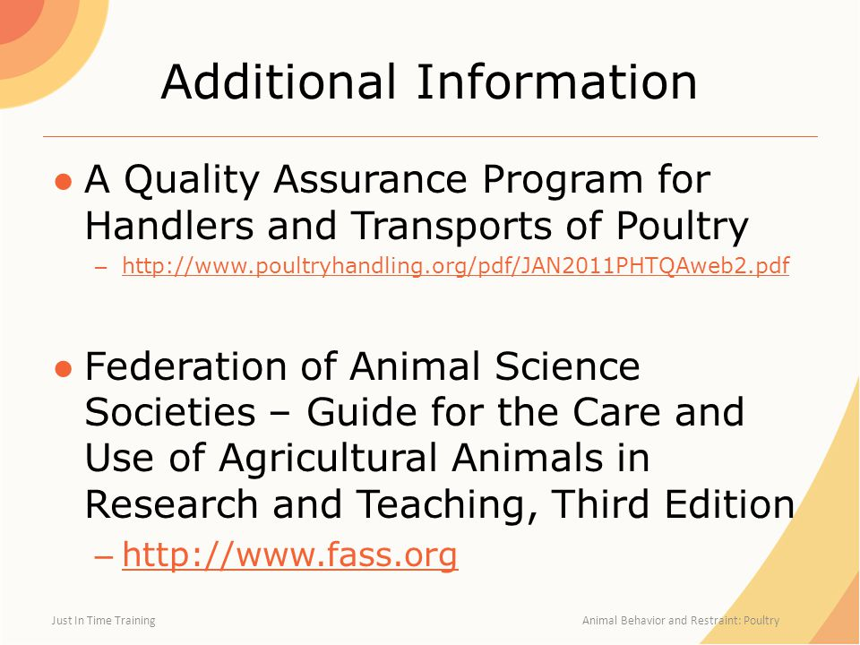 Additional Information ●A Quality Assurance Program for Handlers and Transports of Poultry – http://www.poultryhandling.org/pdf/JAN2011PHTQAweb2.pdf http://www.poultryhandling.org/pdf/JAN2011PHTQAweb2.pdf ●Federation of Animal Science Societies – Guide for the Care and Use of Agricultural Animals in Research and Teaching, Third Edition – http://www.fass.org http://www.fass.org Just In Time Training Animal Behavior and Restraint: Poultry