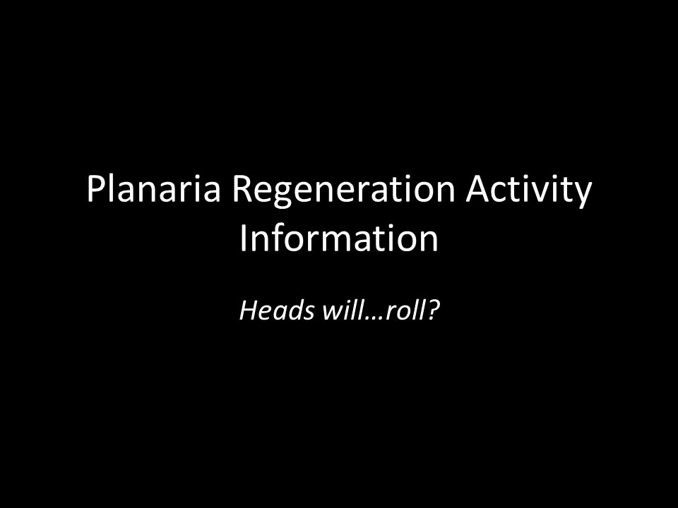 Planaria Regeneration Activity Information Heads will…roll