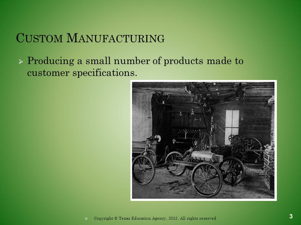 I NTERMITTENT M ANUFACTURING  Producing parts in groups instead of continuously.