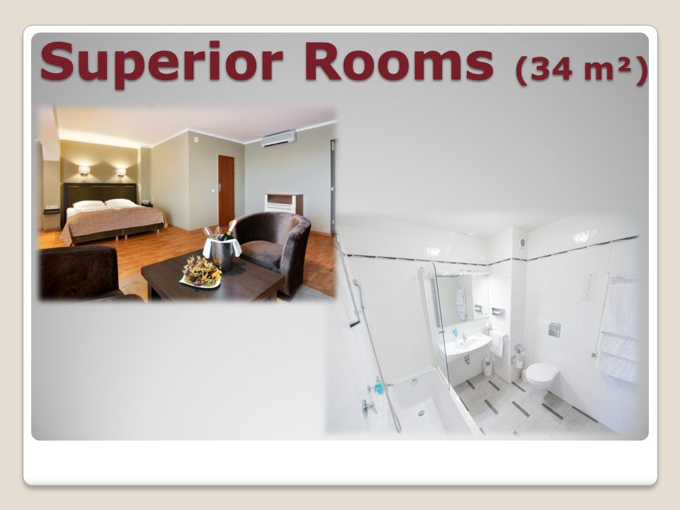 Superior Rooms (34m2) Queen-size beds; Bathrobes; Slippers; Trouser presses; Room safe; Bathroom with bathtub; Bidet; Make up mirror; Heated towel rack in the bathroom; Hairdryer; Air conditioner; Satellite TV with international channels; Free Wi-Fi; Direct-dial telephone; Minibar.