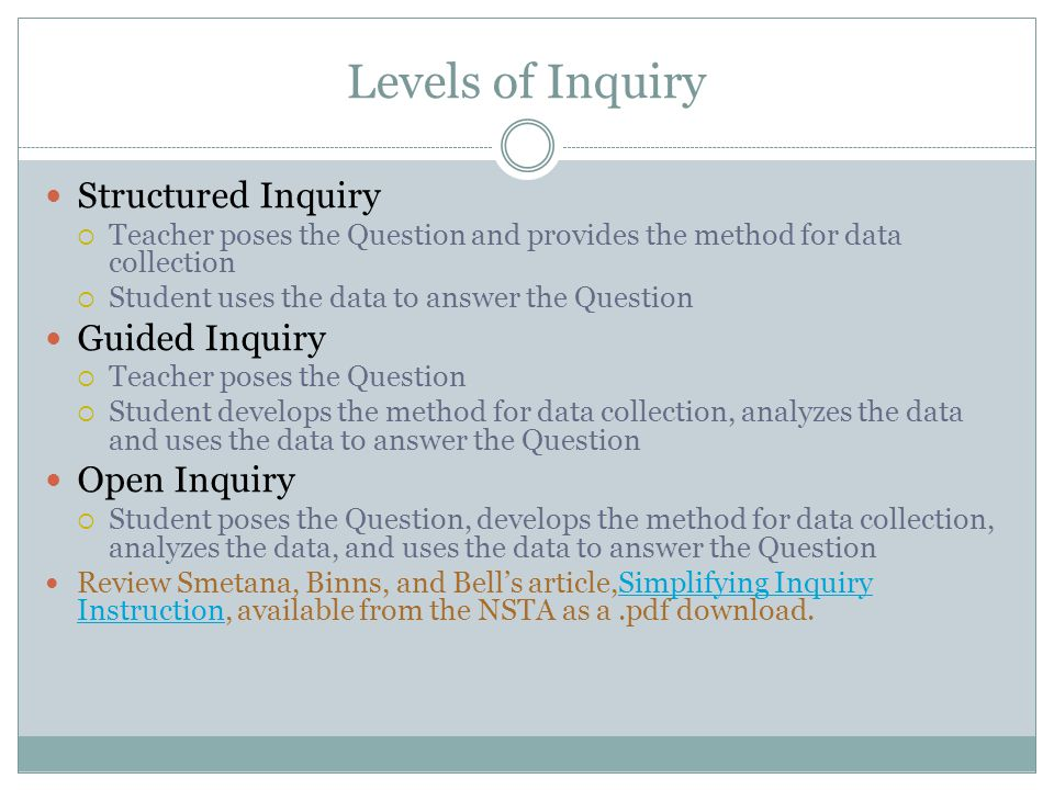 Levels of Inquiry Structured Inquiry  Teacher poses the Question and provides the method for data collection  Student uses the data to answer the Question Guided Inquiry  Teacher poses the Question  Student develops the method for data collection, analyzes the data and uses the data to answer the Question Open Inquiry  Student poses the Question, develops the method for data collection, analyzes the data, and uses the data to answer the Question Review Smetana, Binns, and Bell's article,Simplifying Inquiry Instruction, available from the NSTA as a.pdf download.Simplifying Inquiry Instruction