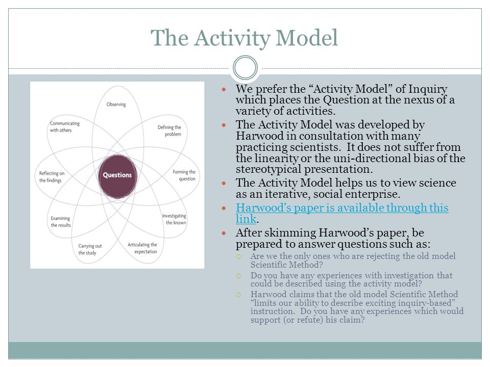 The Activity Model We prefer the Activity Model of Inquiry which places the Question at the nexus of a variety of activities.