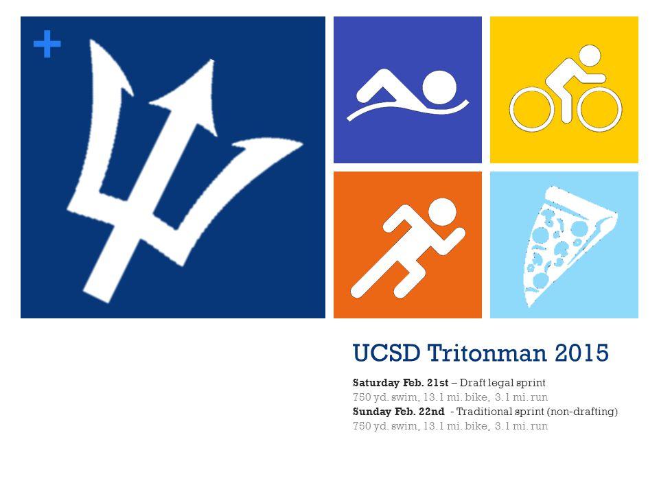 + UCSD Tritonman 2015 Saturday Feb. 21st – Draft legal sprint 750 yd. swim, 13.1 mi. bike, 3.1 mi. run Sunday Feb. 22nd - Traditional sprint (non-draf