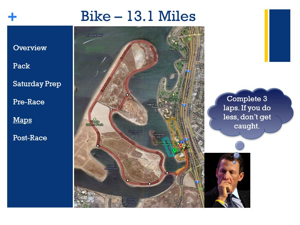+ Bike – 13.1 Miles Overview Pack Saturday Prep Pre-Race Maps Post-Race Complete 3 laps.