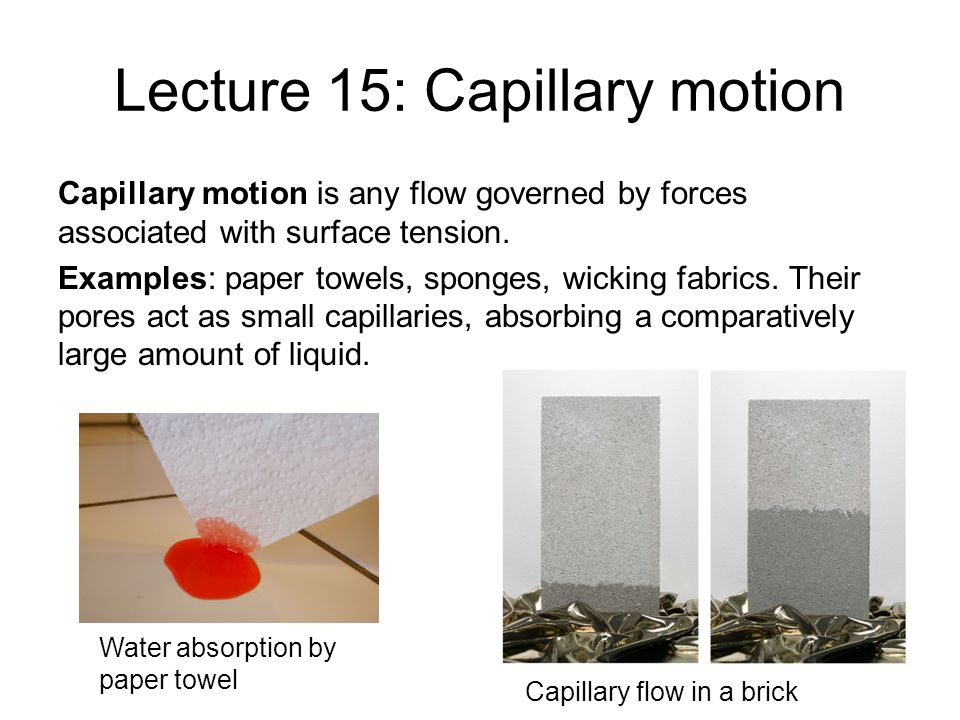 Lecture 15: Capillary motion Capillary motion is any flow governed by forces associated with surface tension. Examples: paper towels, sponges, wicking