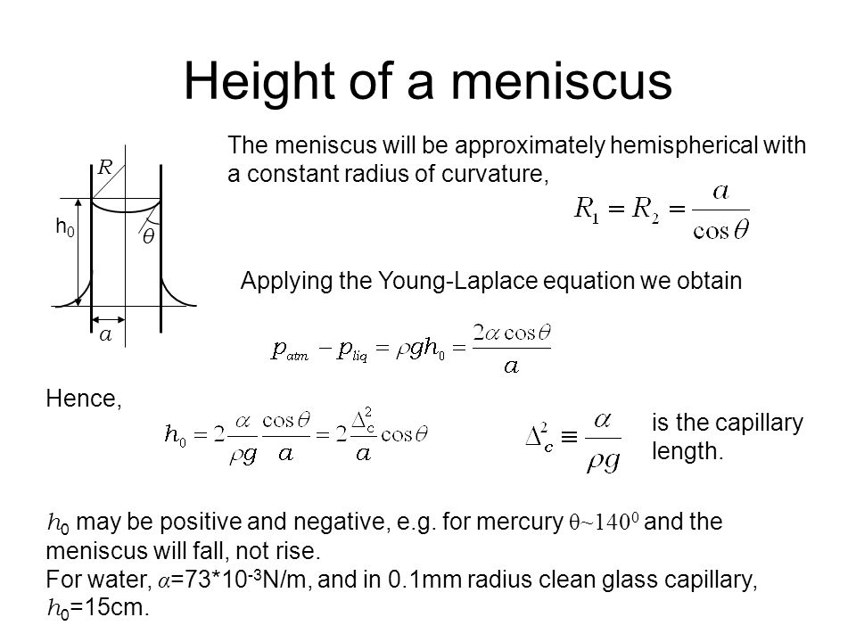 Let us calculate the rate at which the meniscus rises to the height h 0.