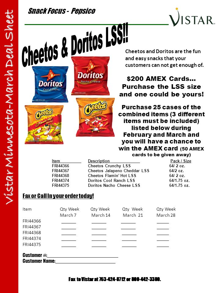 Snack Focus - Pepsico Vistar Minnesota-March Deal Sheet Item Description Pack / Size FRI44366 Cheetos Crunchy LSS64/ 2 oz. FRI44367 Cheetos Jalapeno C
