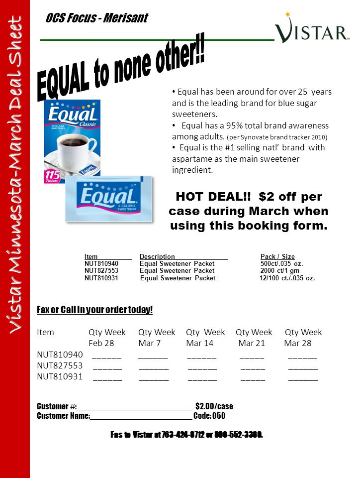 OCS Focus - Merisant Vistar Minnesota-March Deal Sheet Item Description Pack / Size NUT810940 Equal Sweetener Packet 500ct/.035 oz. NUT827553 Equal Sw