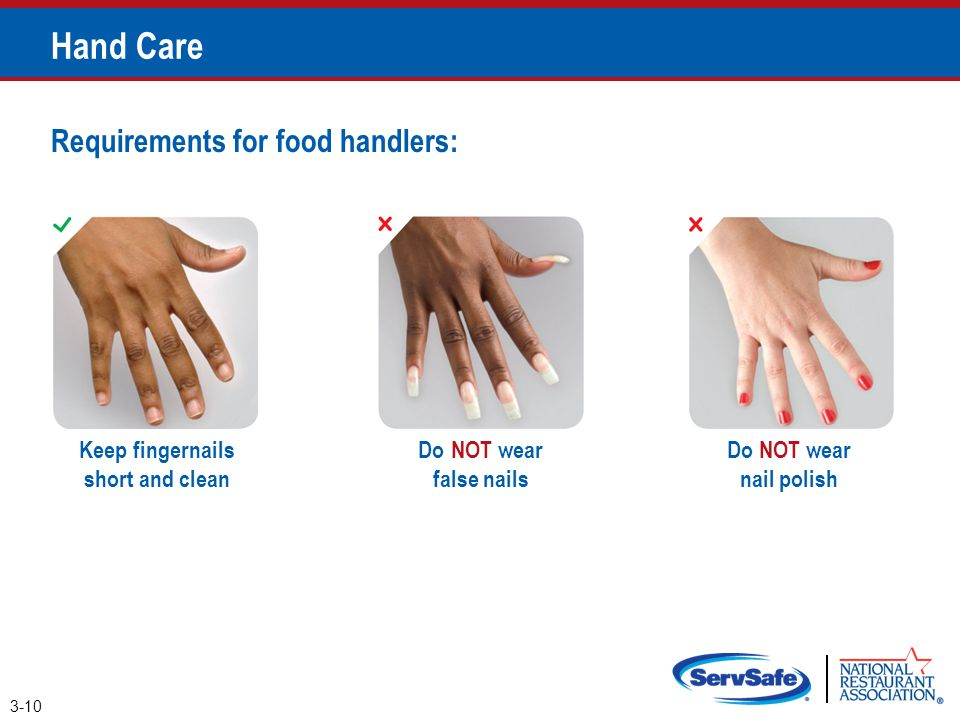 Hand Care Requirements for food handlers: Keep fingernails short and clean Do NOT wear nail polish Do NOT wear false nails 3-10