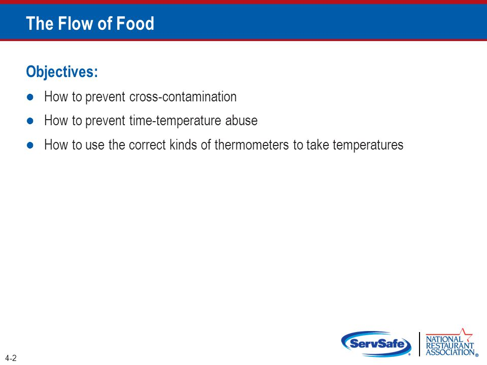 Objectives: How to prevent cross-contamination How to prevent time-temperature abuse How to use the correct kinds of thermometers to take temperatures 4-2 The Flow of Food