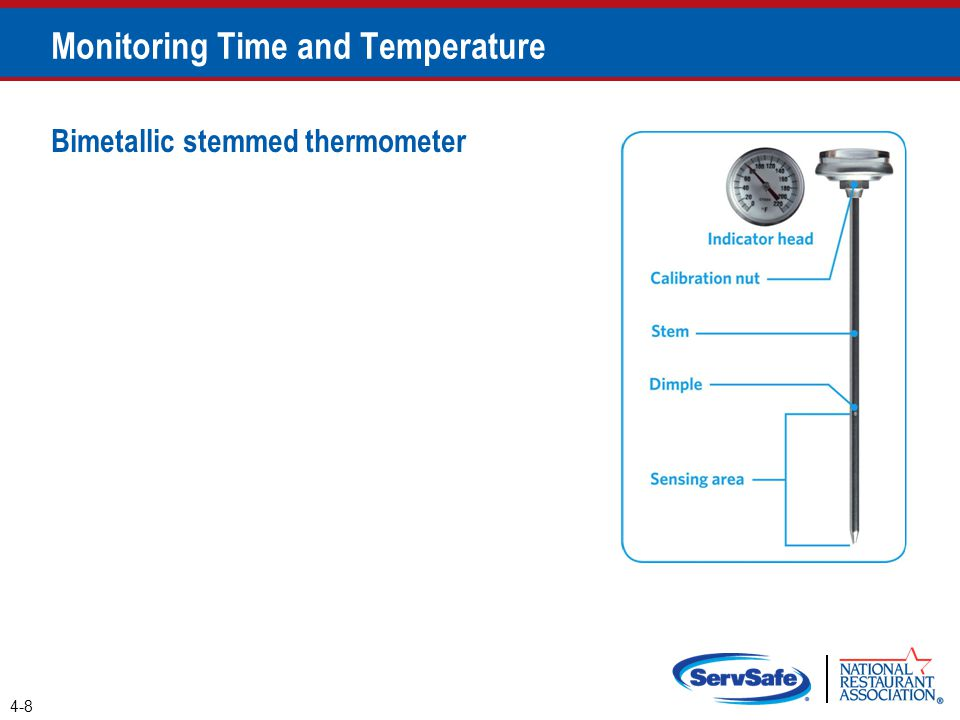 Bimetallic stemmed thermometer Monitoring Time and Temperature 4-8
