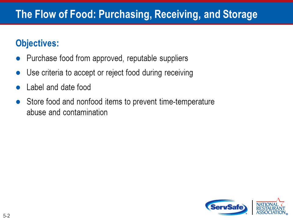 Objectives: Purchase food from approved, reputable suppliers Use criteria to accept or reject food during receiving Label and date food Store food and
