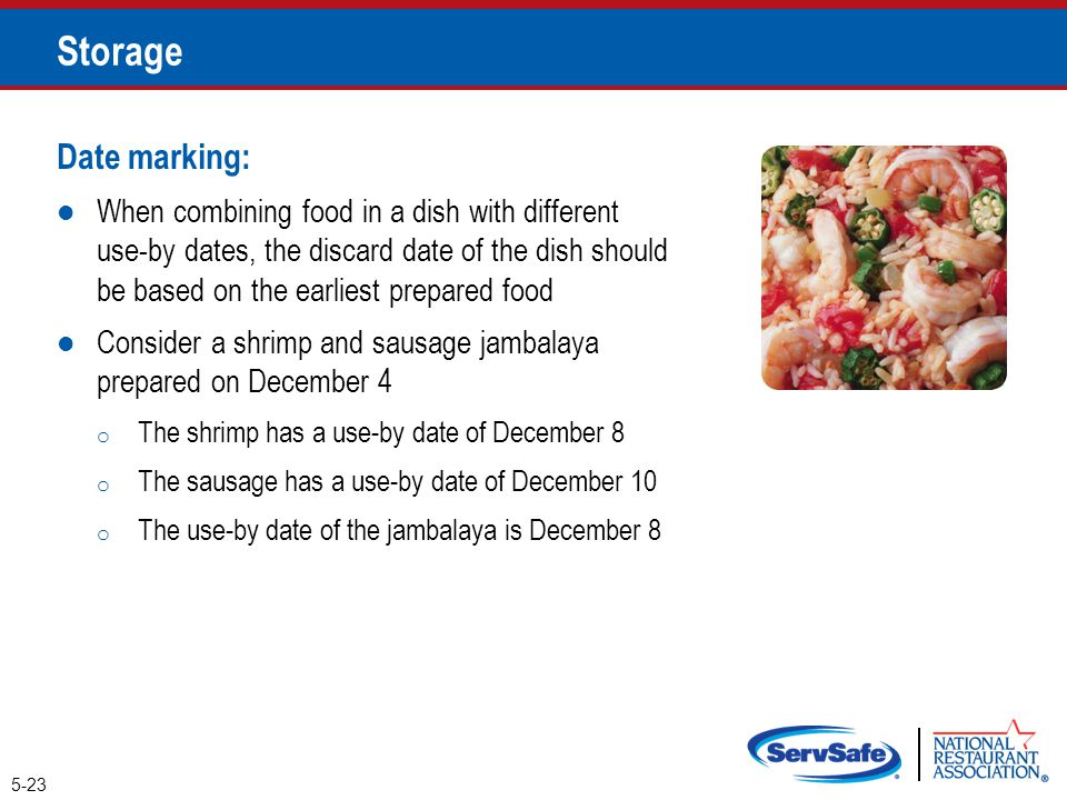 Date marking: When combining food in a dish with different use-by dates, the discard date of the dish should be based on the earliest prepared food Co