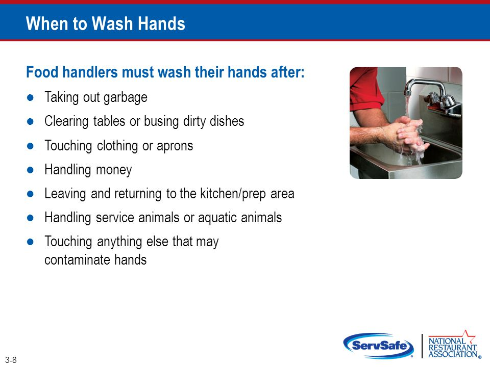 When to Wash Hands Food handlers must wash their hands after: Taking out garbage Clearing tables or busing dirty dishes Touching clothing or aprons Ha