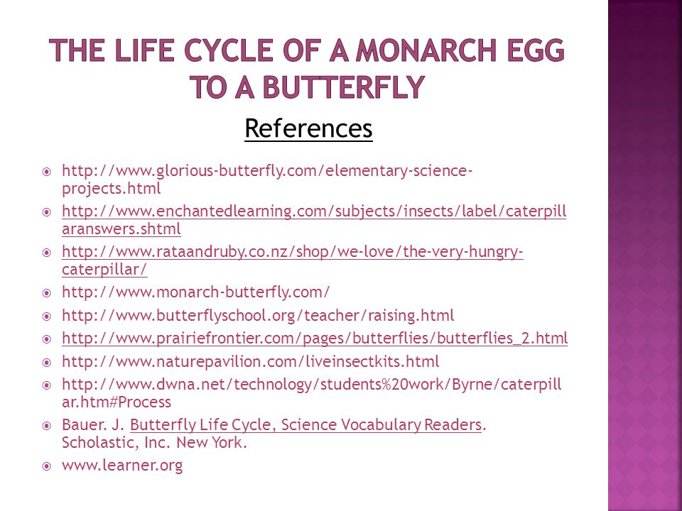 References  http://www.glorious-butterfly.com/elementary-science- projects.html  http://www.enchantedlearning.com/subjects/insects/label/caterpill aranswers.shtml  http://www.rataandruby.co.nz/shop/we-love/the-very-hungry- caterpillar/  http://www.monarch-butterfly.com/  http://www.butterflyschool.org/teacher/raising.html  http://www.prairiefrontier.com/pages/butterflies/butterflies_2.html  http://www.naturepavilion.com/liveinsectkits.html  http://www.dwna.net/technology/students%20work/Byrne/caterpill ar.htm#Process  Bauer.