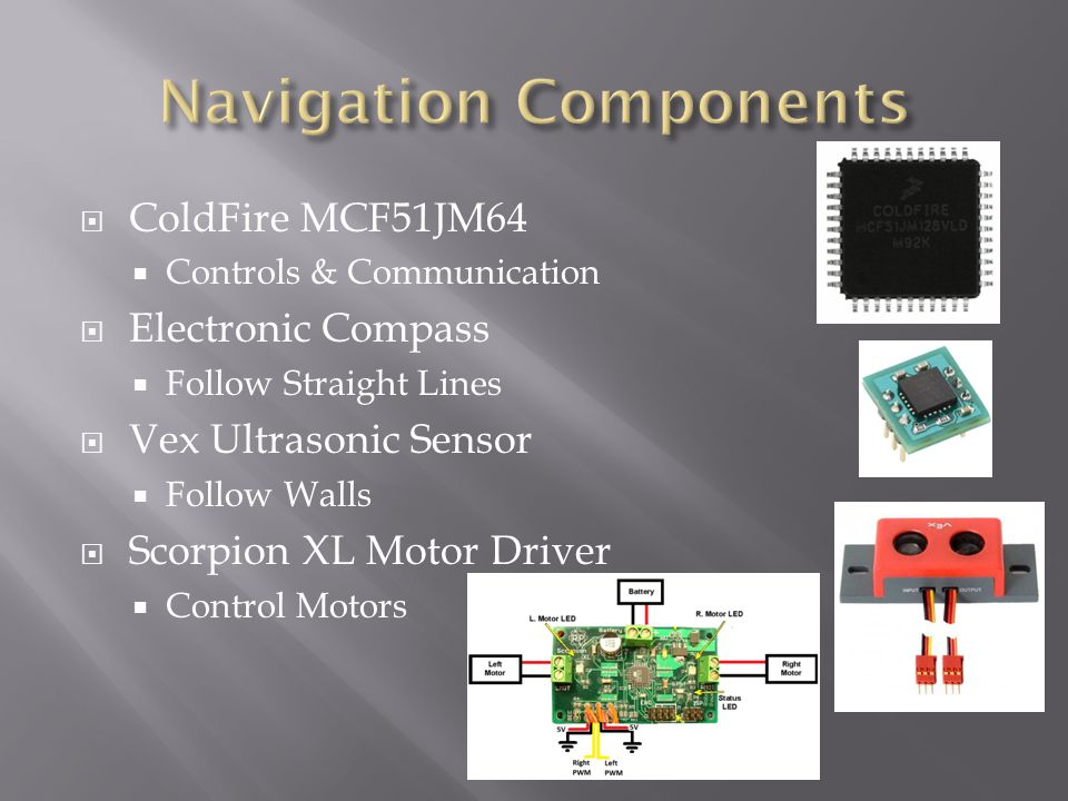  ColdFire MCF51JM64  Controls & Communication  Electronic Compass  Follow Straight Lines  Vex Ultrasonic Sensor  Follow Walls  Scorpion XL Motor Driver  Control Motors