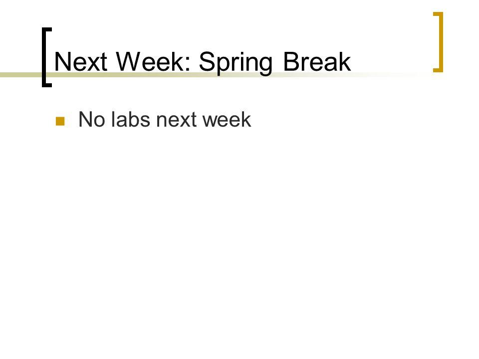Next Week: Spring Break No labs next week