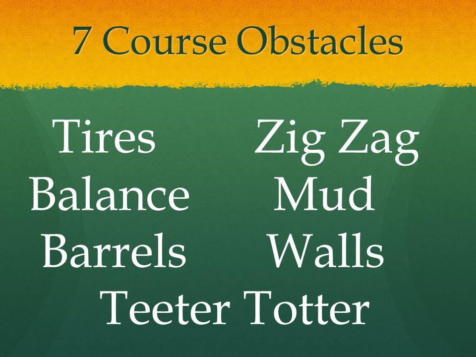 7 Course Obstacles Tires Zig Zag Balance Mud Barrels Walls Teeter Totter