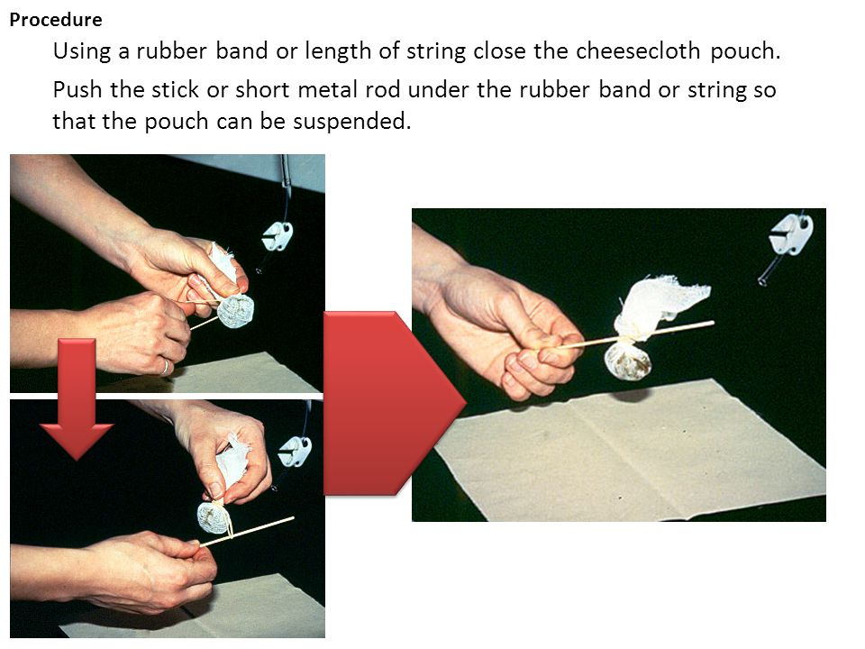 Using a rubber band or length of string close the cheesecloth pouch. Push the stick or short metal rod under the rubber band or string so that the pou