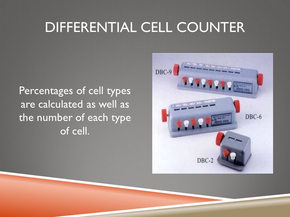 DIFFERENTIAL CELL COUNTER Percentages of cell types are calculated as well as the number of each type of cell.