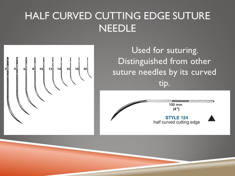 HALF CURVED CUTTING EDGE SUTURE NEEDLE Used for suturing. Distinguished from other suture needles by its curved tip.