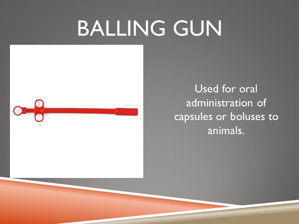 BALLING GUN Used for oral administration of capsules or boluses to animals.