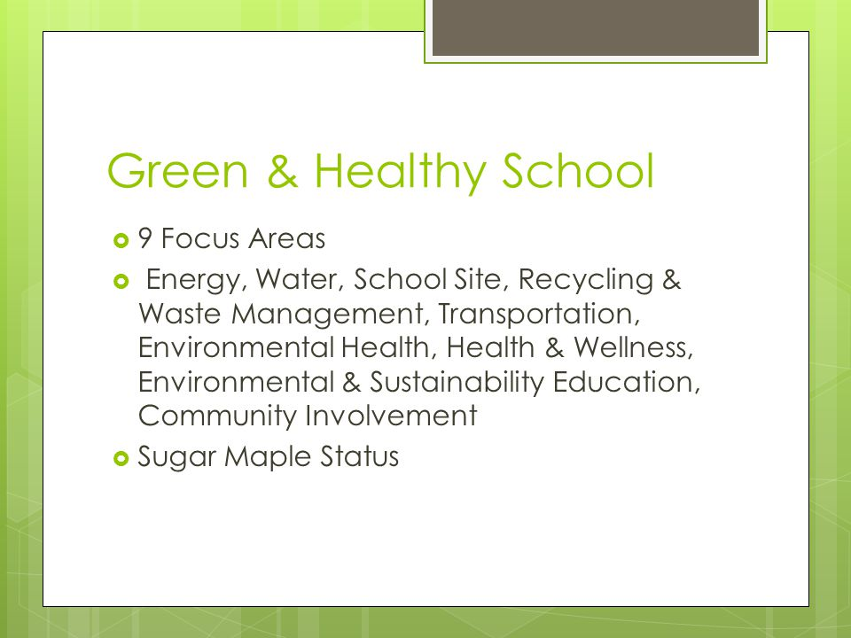 Green & Healthy School  9 Focus Areas  Energy, Water, School Site, Recycling & Waste Management, Transportation, Environmental Health, Health & Wellness, Environmental & Sustainability Education, Community Involvement  Sugar Maple Status