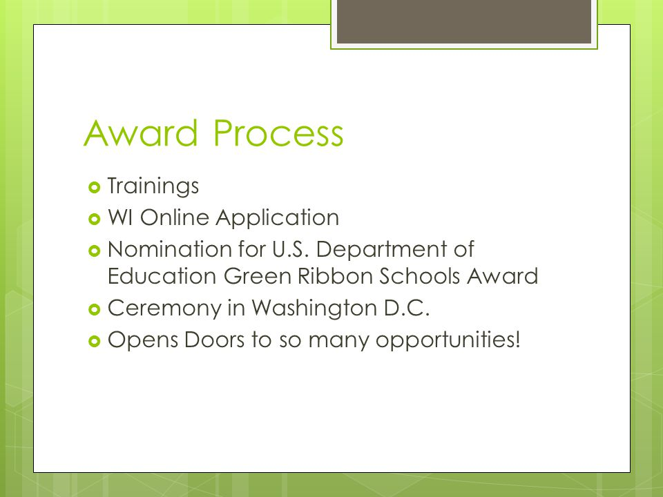 Award Process  Trainings  WI Online Application  Nomination for U.S.