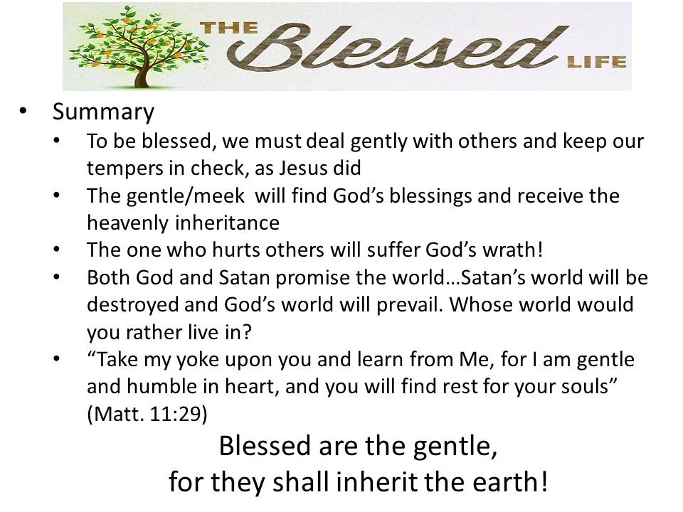 Summary To be blessed, we must deal gently with others and keep our tempers in check, as Jesus did The gentle/meek will find God's blessings and recei