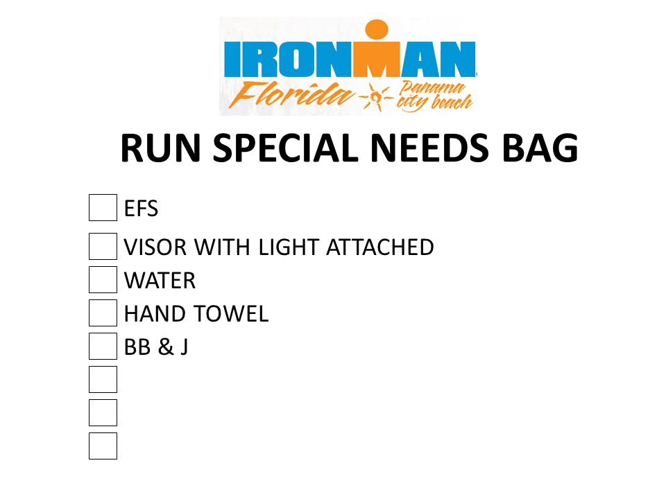 RUN SPECIAL NEEDS BAG WATER EFS BB & J VISOR WITH LIGHT ATTACHED HAND TOWEL