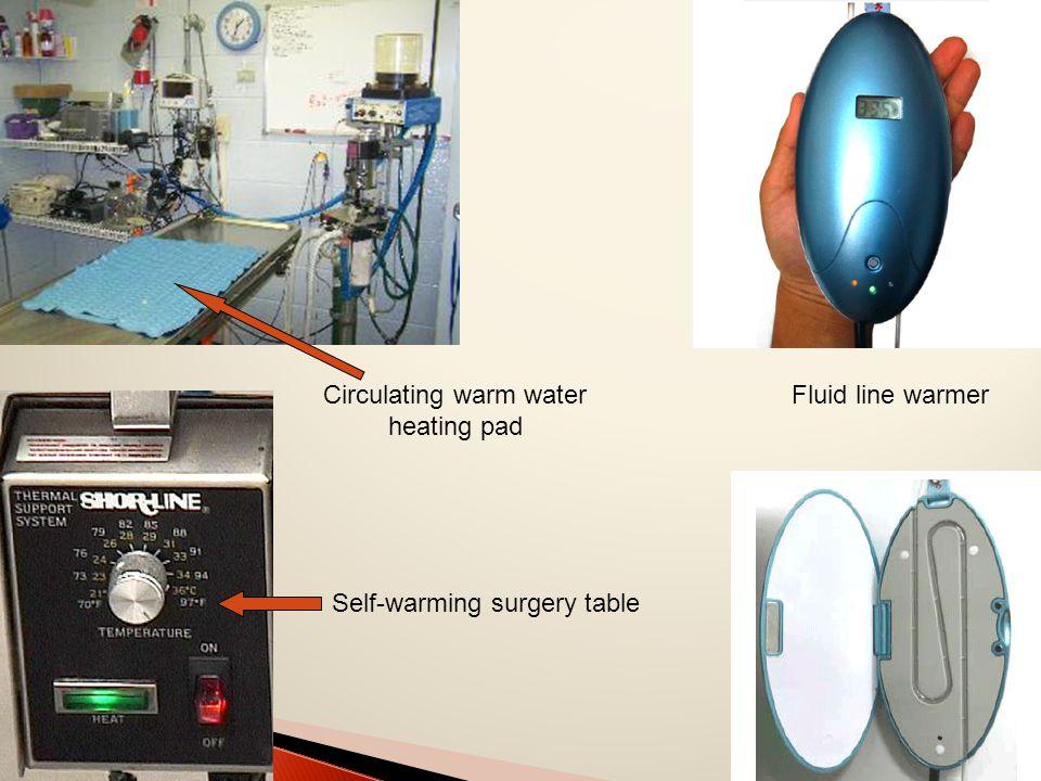 Fluid line warmer Self-warming surgery table Circulating warm water heating pad