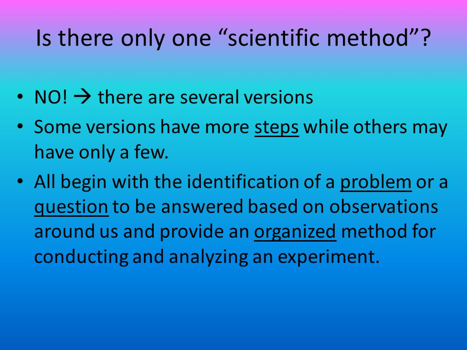 Steps to Solving a Problem (The Scientific Method) 1.Identify the Purpose/Problem State the problem to be solved or the question to be answered.