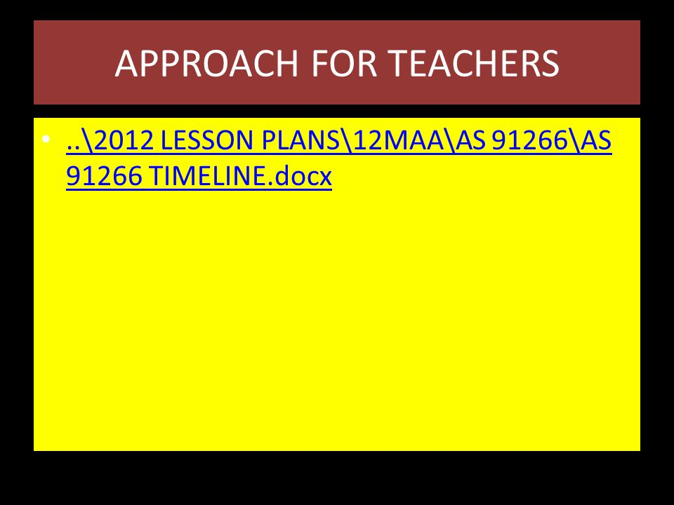 APPROACH FOR TEACHERS..\2012 LESSON PLANS\12MAA\AS 91266\AS 91266 TIMELINE.docx..\2012 LESSON PLANS\12MAA\AS 91266\AS 91266 TIMELINE.docx
