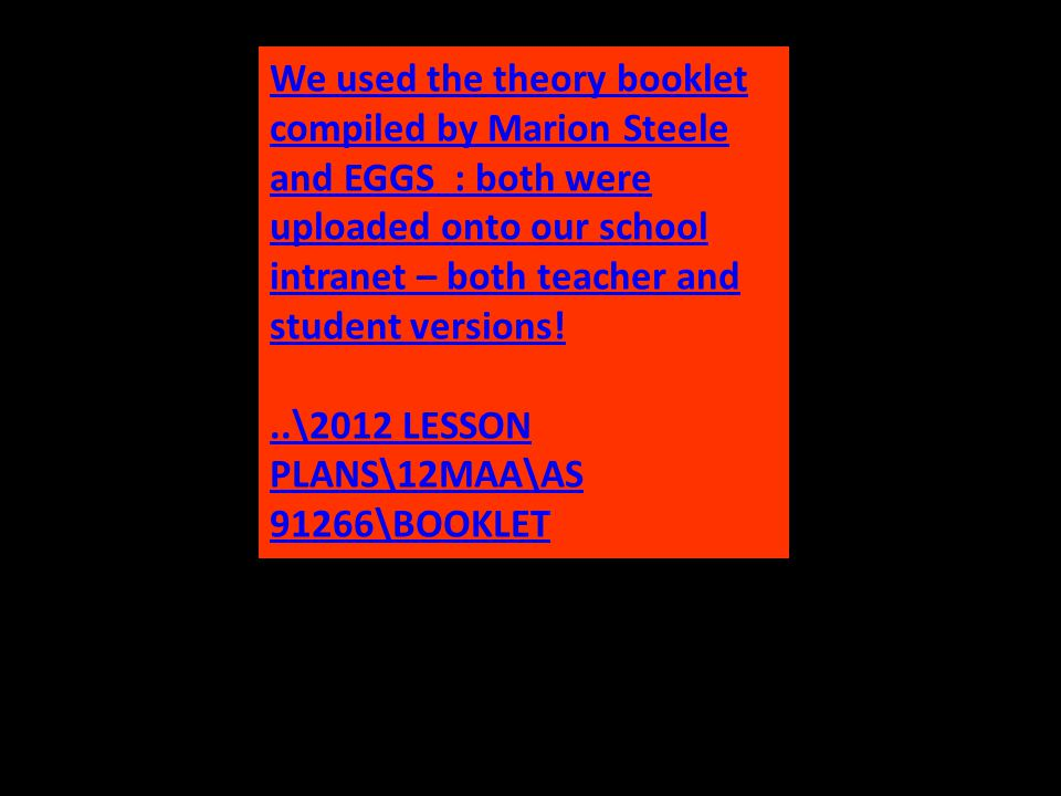 We used the theory booklet compiled by Marion Steele and EGGS : both were uploaded onto our school intranet – both teacher and student versions!..\2012 LESSON PLANS\12MAA\AS 91266\BOOKLET