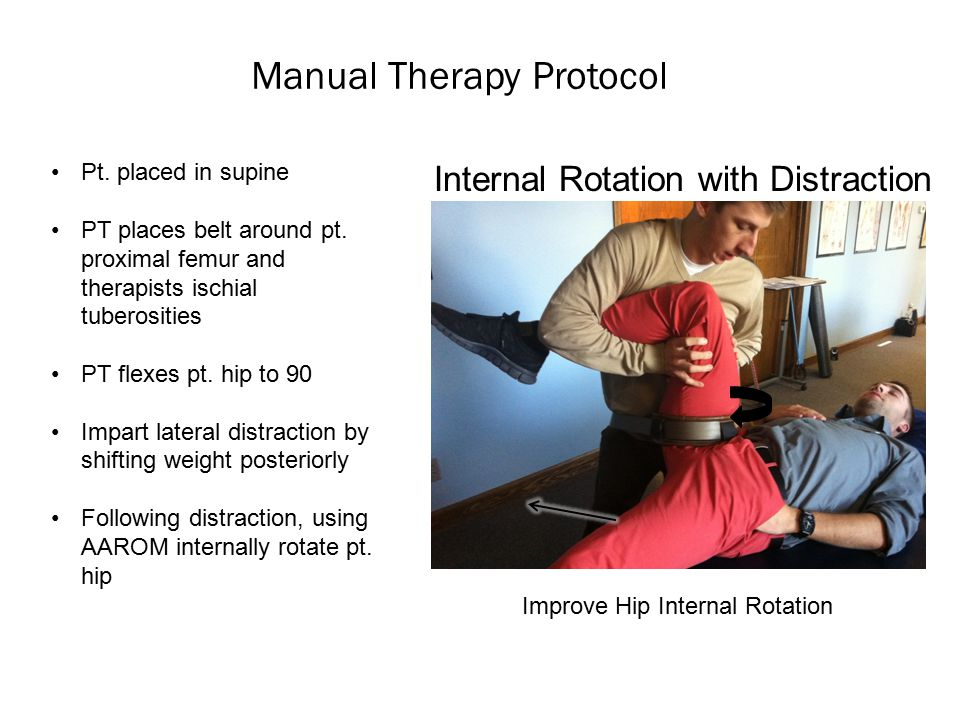 Manual Therapy Protocol Internal Rotation with Distraction Pt.