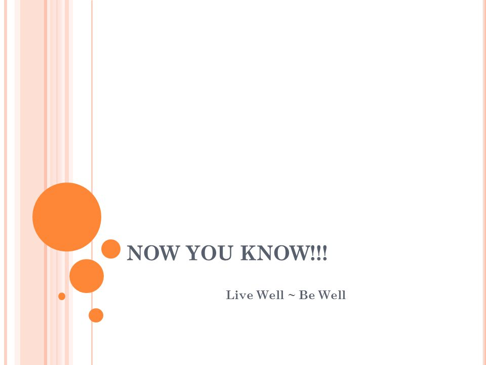 NOW YOU KNOW!!! Live Well ~ Be Well