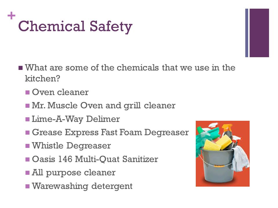 + Chemical Safety What are some of the chemicals that we use in the kitchen.