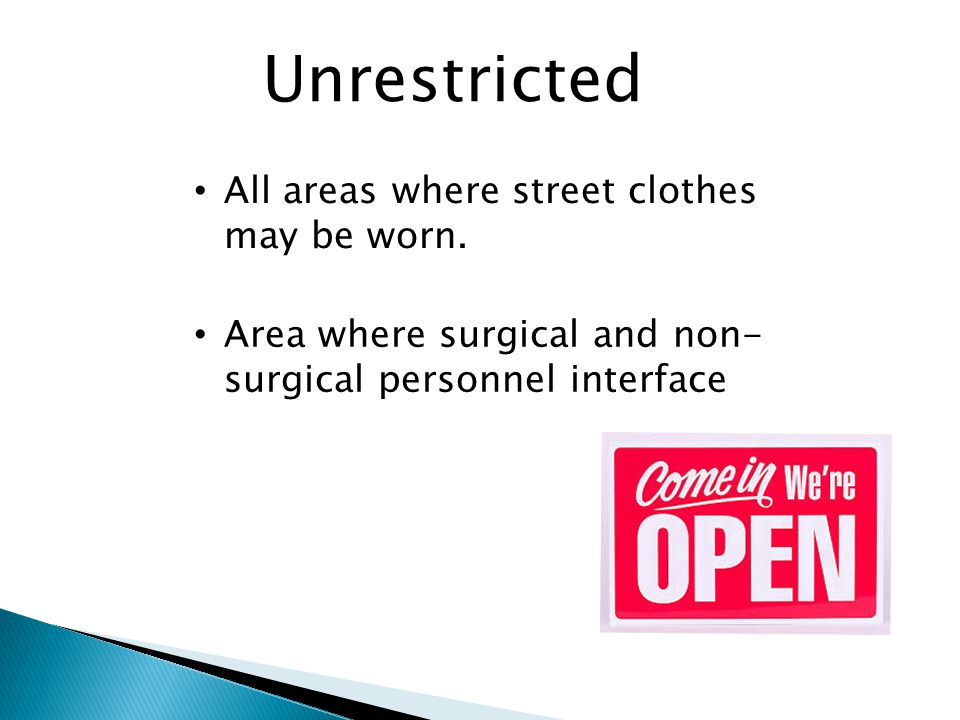 Divided into three designated areas. Determined by the activities that take place in each area Operating Room Suite Unrestricted Semi-restricted Restr